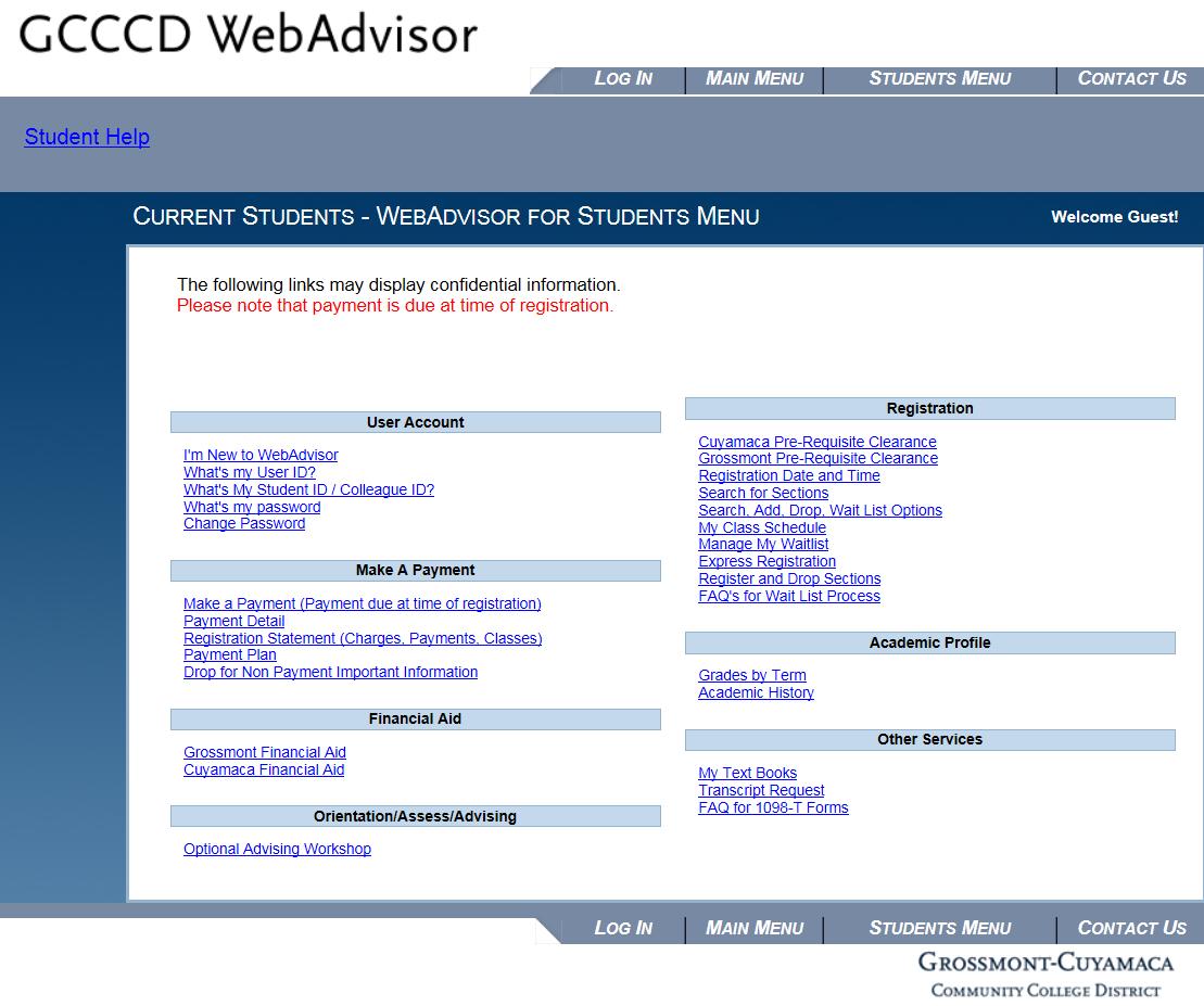 GCCCD WebAdvisor 1