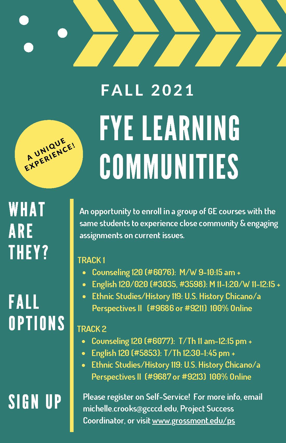 Fall 2021 Project Success flier