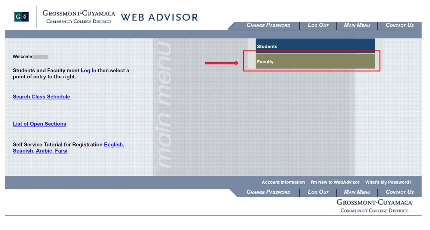 WebAdvisor login for faculty