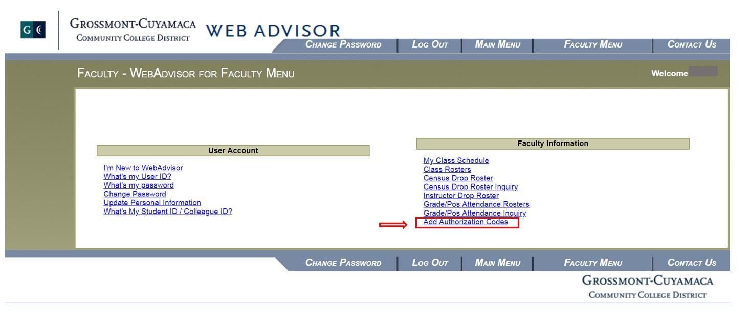 WebAdvisor Faculty Menu