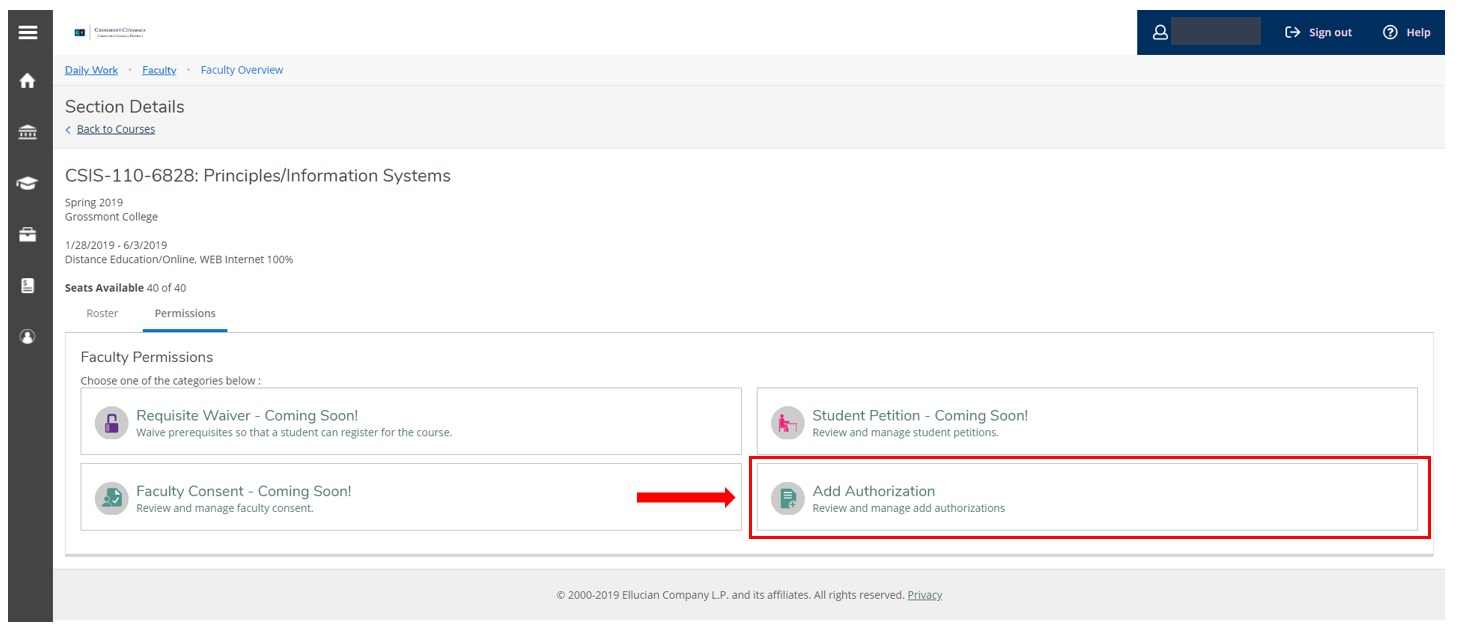 selecting add authorization in self-service