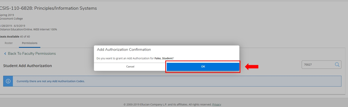 granting permission by adding student to section